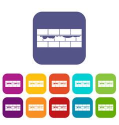 Brick wall icons set vector