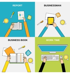 Business hands flat line vector image vector image