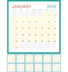 Calendar 2016 flat design template set of 12 vector
