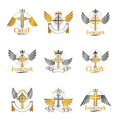 christian crosses emblems set heraldic coat of vector image