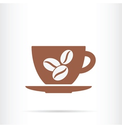 Coffee cup beans icon vector