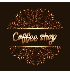 Coffee shop logo with mandala vector