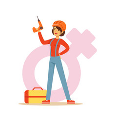 Confident woman in orange helmet holding a drill vector