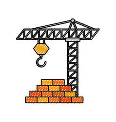 construction tower crane wall brick work vector image