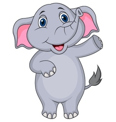 Cute elephant cartoon waving hand vector