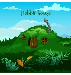 Drawn fairy hobbit house in the meadow vector