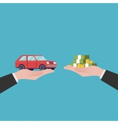 Flat car sales The transfer of money vector image