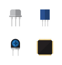 flat icon electronics set of transducer cpu vector image vector image