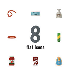 Flat icon meal set of sack fizzy drink kielbasa vector