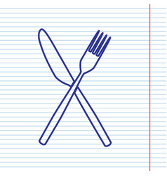 Fork and knife sign navy line icon on vector