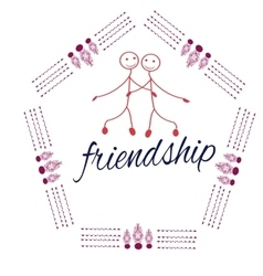 Frame with friendship day title children friends vector