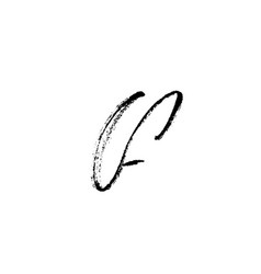 letter f handwritten by dry brush rough strokes vector image vector image