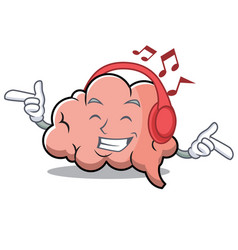 listening music brain character cartoon mascot vector image
