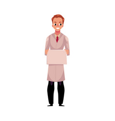male doctor in medical coat holding blank sign for vector image vector image