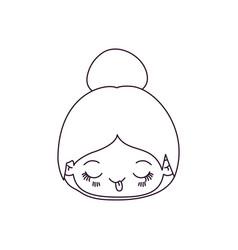 Monochrome silhouette of kawaii head cute little vector
