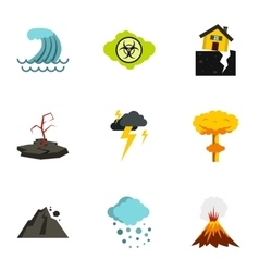 Natural disasters icons set flat style vector