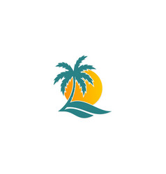 palm tree sunset tropic logo vector image vector image