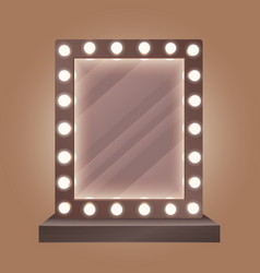 Realistic makeup mirror with bulbs vector