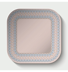Rounded square plate with ornament stylized the vector image