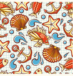 seamless pattern marine ornament vector image vector image