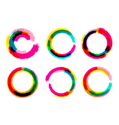 set of grange circles color circle brush vector image vector image