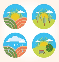 Set scenes farm garden vector