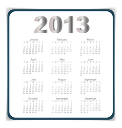 Simple 2013 year calendar eps10 vector image