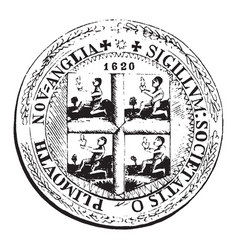 The old colony seal vintage vector