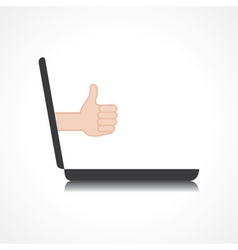 Thumbs up or like symbol comes from laptop screen vector