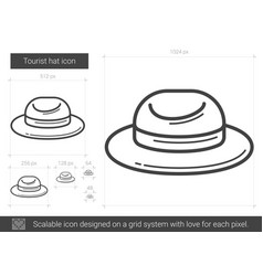 Tourist hat line icon vector