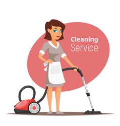 Woman character vacuuming the floor vector