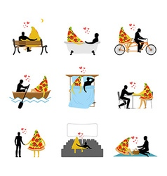 Love of pizza set man and slice of pizza in movie vector