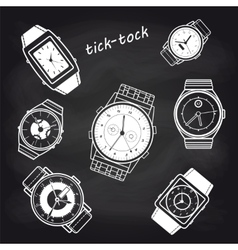 White watch icons on chalkboard vector