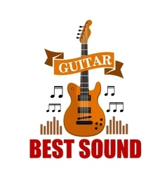 Guitar best sound musical emblem vector