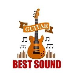 Guitar Best sound musical emblem vector image
