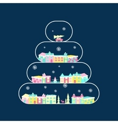 Rural landscape on christmas tree vector