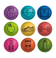 Set fitness equipment icon vector