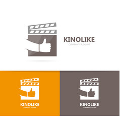 Clapperboard and like logo combination vector
