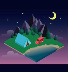 summer camping and tent near a river or lake vector image
