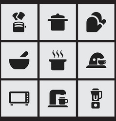 Set of 9 editable cook icons includes symbols vector