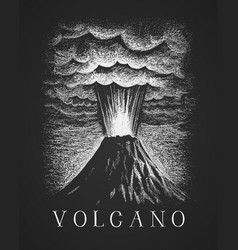 volcanic eruption chalk drawing vector image