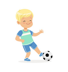 Boy playing soccer kid kicking a ball colorful vector