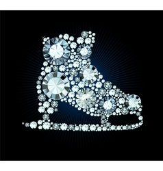 Diamond ice skates sign vector