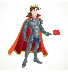 Prince charming in armour give flover vector