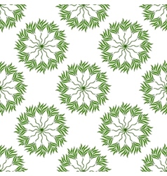 Seamless pattern of green leaves on a white vector