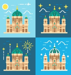 Berliner dom cathedral flat design vector