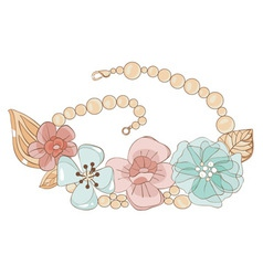 Necklace with flowers vector