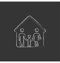 Family house drawn in chalk icon vector
