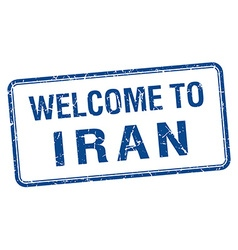 Welcome to iran blue grunge square stamp vector