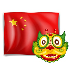 A dragon and the chinese flag vector